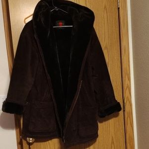 Gallery hooded suede leather jacket Med